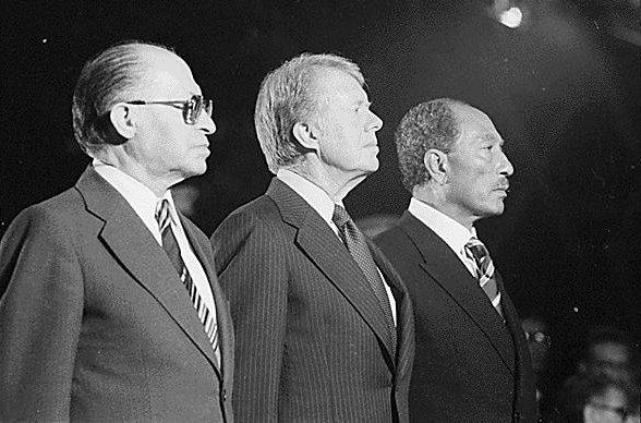 Begin,_Carter_and_Sadatat Camp David 1978